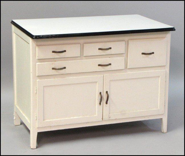 981081 painted wood and metal hoosier cabinet lot 981081