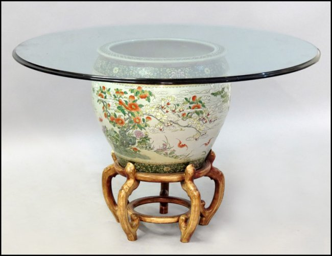 1101081 chinese porcelain fish bowl on stand lot 1101081 for Chinese fish bowl