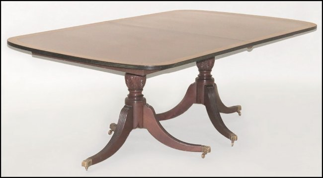 BANDED MAHOGANY TWIN PEDESTAL DINING TABLE Lot 1241028 : 196755761l from liveauctioneers.com size 650 x 358 jpeg 22kB