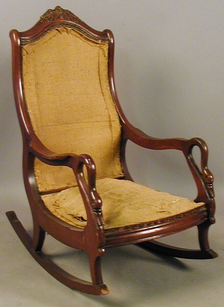 51015 victorian style upholstered rocking chair