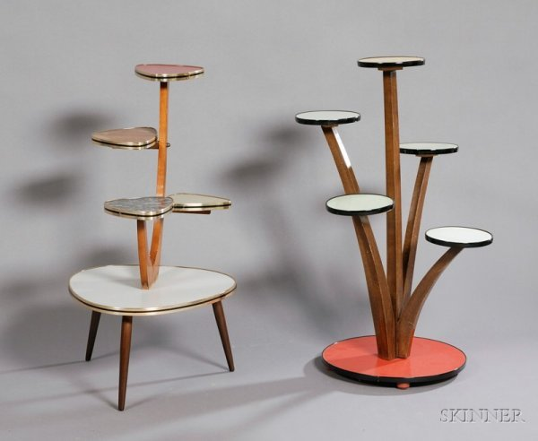 3606: Two Mid-Century Modern Plant Stands Laminate wood