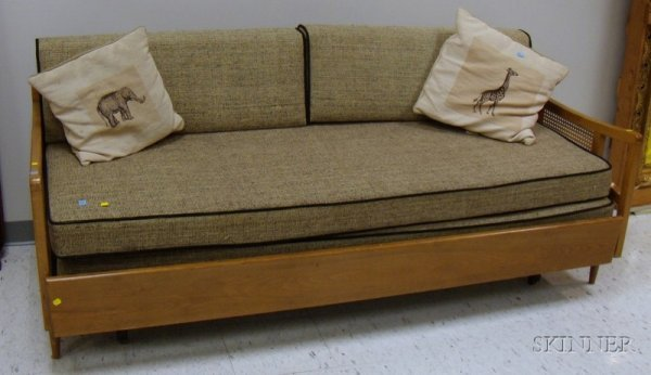 770 Mid Century Modern Caned Wood Trundle Sofa Bed Wit