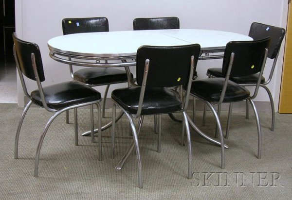 1064 vintage formica and chrome kitchen table and set lot 1064 - Vintage chrome kitchen table ...