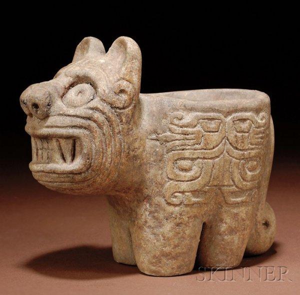 Pre columbian carved stone mortar peru chavin c