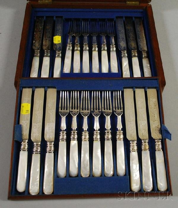 173 mother of pearl handled flatware service for six lot 173 - Pearl handled flatware ...