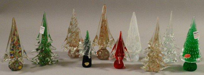 845 ten murano art glass christmas trees ht 5 3 4 to - Murano glass christmas tree ...