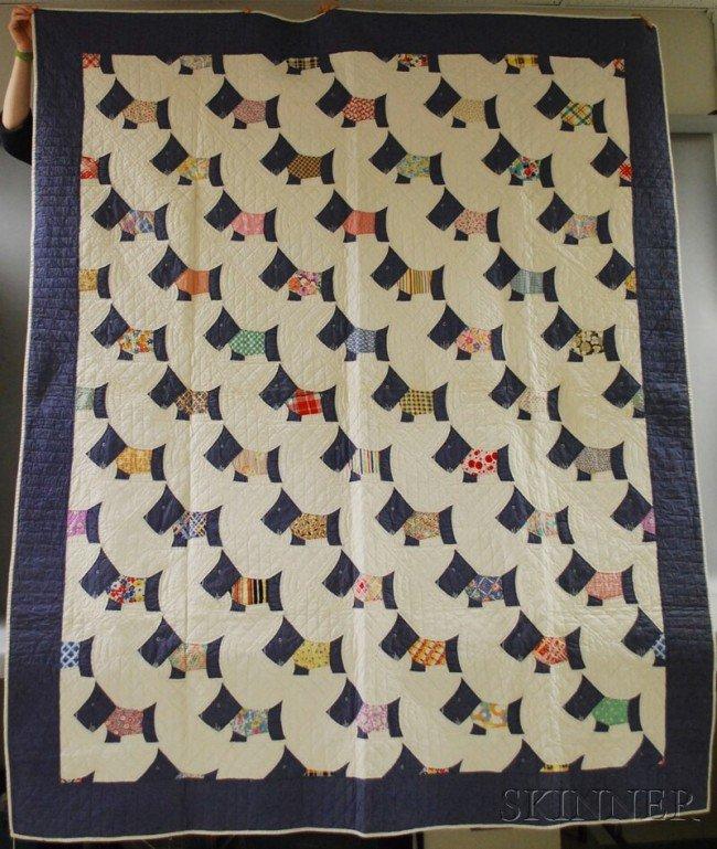 Quilt Pattern For Scottie Dog : 662: Hand-stitched Pieced Cotton Scottie Dog Pattern Qu : Lot 662