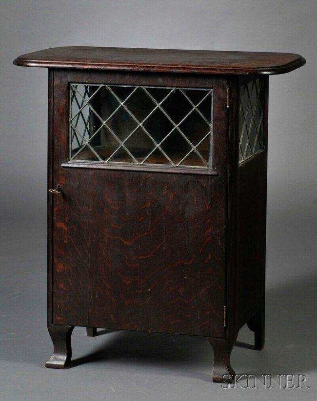267 Paine Furniture Oak And Glass Liquor Cabinet