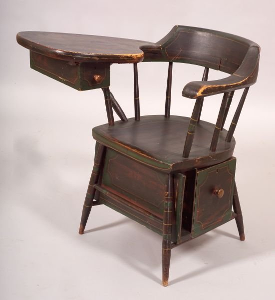 Paint decorated windsor writing arm chair possibly maine c 1830