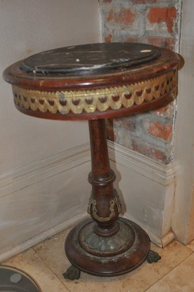 small antique pedestal table with brass trim marble lot 241. Black Bedroom Furniture Sets. Home Design Ideas