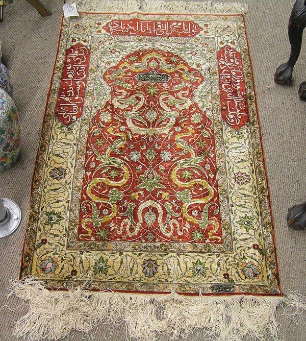 Hereke Silk Rug Youtube: 2250: Turkish Silk Hereke Prayer Rug Carpet : Lot 2250