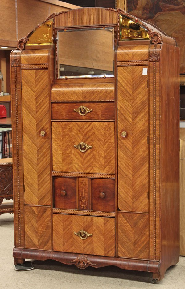6304 art deco walnut waterfall armoire lot 6304. Black Bedroom Furniture Sets. Home Design Ideas