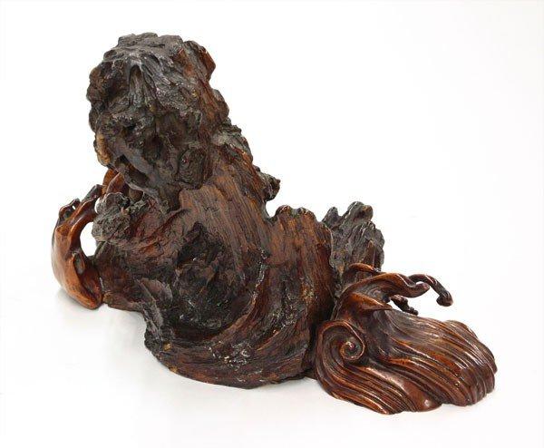 Japanese wood carving waves meiji taisho lot