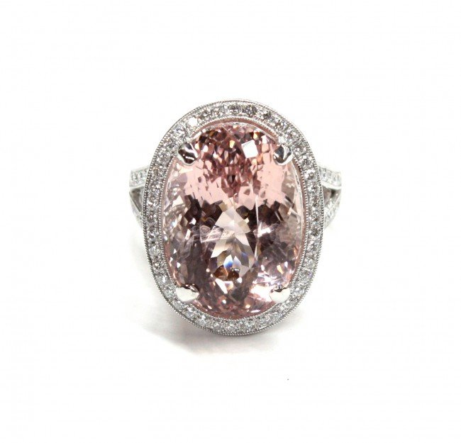 6443 morganite and white gold ring lot 6443