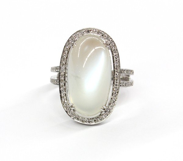 2448 moonstone white gold ring lot 2448