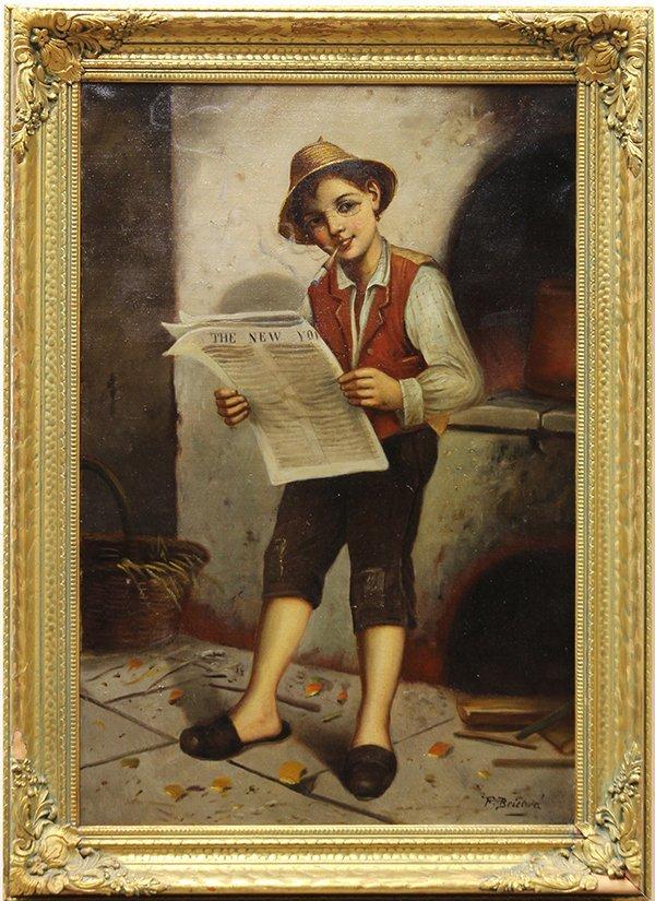 francois xavier bricard boy reading the news oil on c. Black Bedroom Furniture Sets. Home Design Ideas