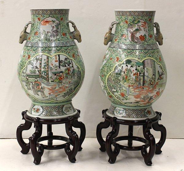 Chinese Deer Head Porcelain Vases Lot 4126