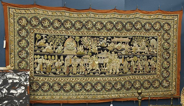 Burmese Kalaga Wall Hanging Lot 4372