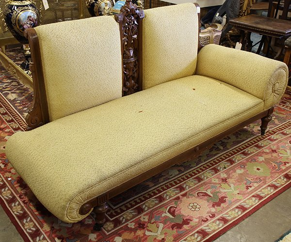 Renaissance revival carved walnut chaise lounge lot 4486 for Carved chaise lounge