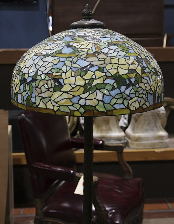 Tiffany style leaded glass floor lamp, with dome shade ...