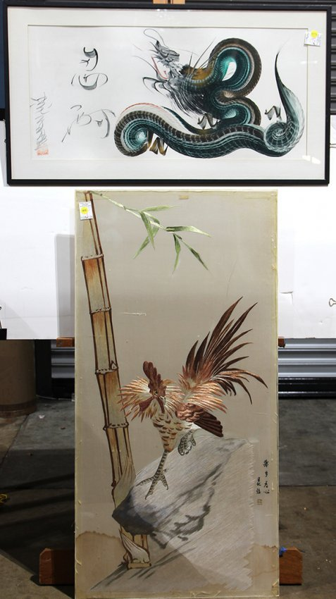 japanese silk embroidery rooster dragon painting lot 4076 On nikko dragon painting for sale