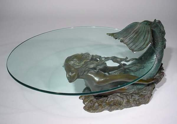 1214 mermaid figured patinated bronze glass top coffee lot 1214 Mermaid coffee table
