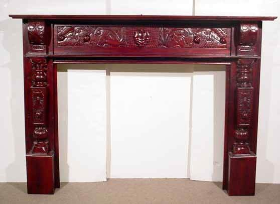 1132 Georgian Style Carved Mahogany Fireplace Mantel Lot 1132