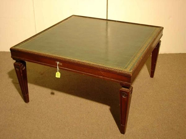 432 mahogany square tooled leather top coffee table s lot 432 Square leather coffee table