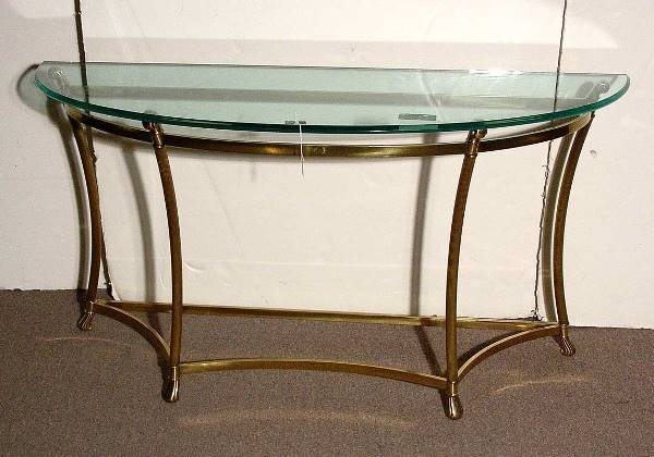 304 Polished Brass Glass Top Sofa Table Of Elongated