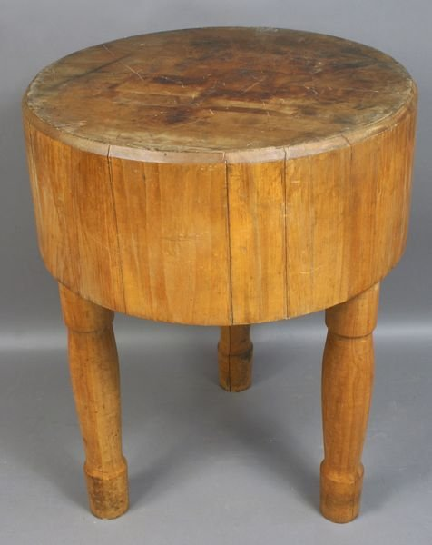 2328 round butcher block on legs dovetailed lot 2328