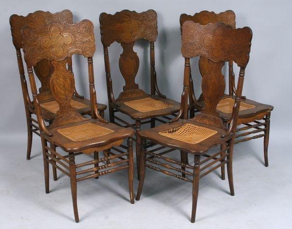 6401: Five Larkin oak press-back chairs : Lot 6401