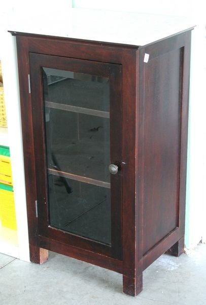 1409 marble top mahogany bathroom cabinet lot 1409