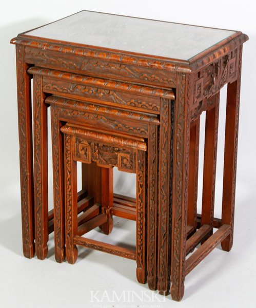 3312 4 Chinese Nesting Tables Lot 3312