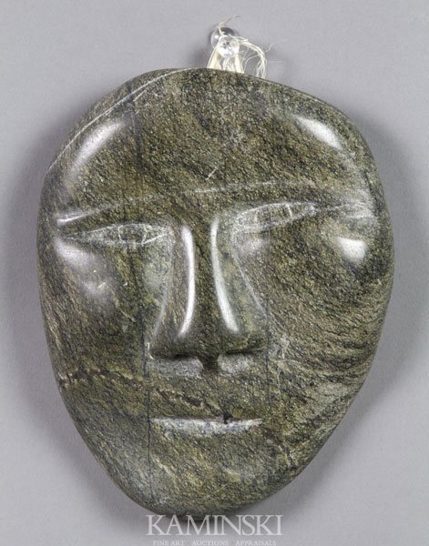 Inuit carved stone face lot