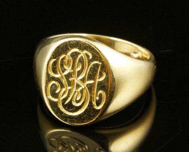 18k gold co signet ring lot 8237