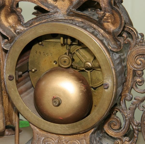 Late 1800 Figural Mantle Clock Heavy Brass Moveme