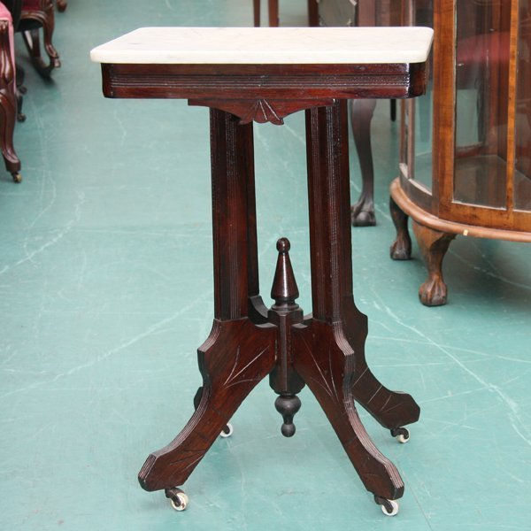 1274 Small Eastlake Victorian Table White Marble Top