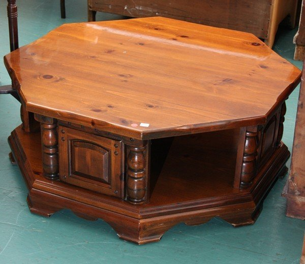 1463 modern octagon coffee table 38quot diameter 16quot tal for Octagon coffee table