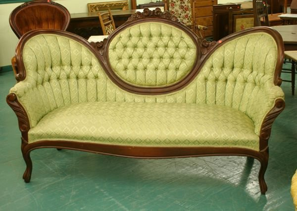 1105 Victorian reproduction sofa cameo back butterfl  : 8599561l from www.liveauctioneers.com size 600 x 427 jpeg 49kB