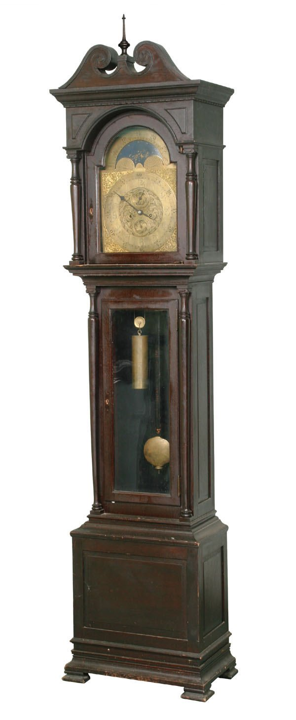 1082: Early 1900 Colonial Revival grandfather clock, so : Lot 1082