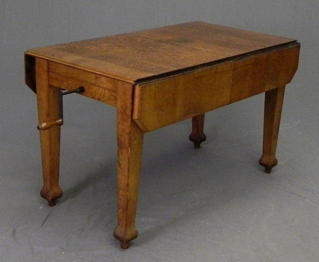 935 unusual carved oak drop leaf crank dining table c for Unusual oak dining tables