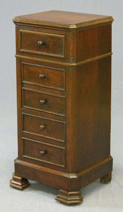 205 carved mahogany tall night stand c 1870 with a