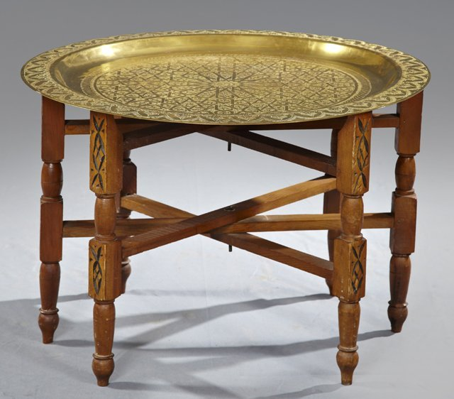 Moroccan Brass Tray Top Coffee Table, 20th C., The Inci