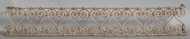Wrought Iron Cornice : Group of five wrought iron window cornices th c in