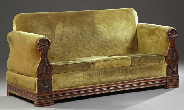 French Empire Style Carved Mahogany Sofa C 1870 With