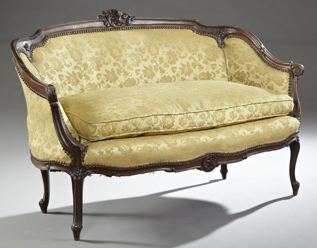 Louis xv style carved mahogany canape c 1900 with a for Canape french translation