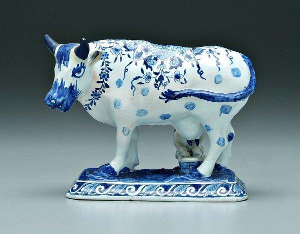 375 Delft Figure Man Milking Cow Lot 375