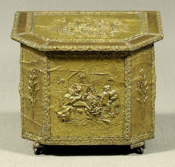 Decorative Kindling Box : Brass firewood box lot