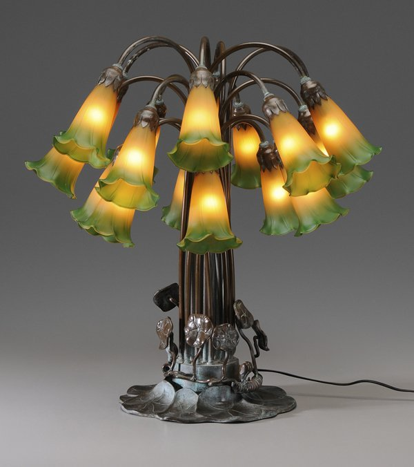 0301 bronze tiffany style lily lamp lot 301 for Tiffany style lily bronze amber floor lamp