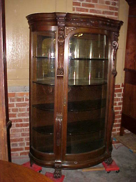 Antique Curved Glass Curio Cabinet images